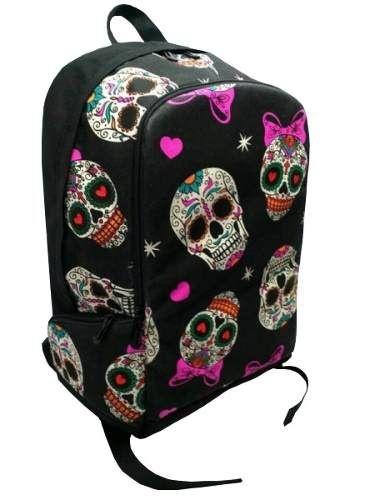 Mochila Madstar Caveira Mexicana Rock Punk Para Notebook