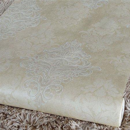 Papel de Parede Areia com Damask (Textura Emborrachada com Glitter)
