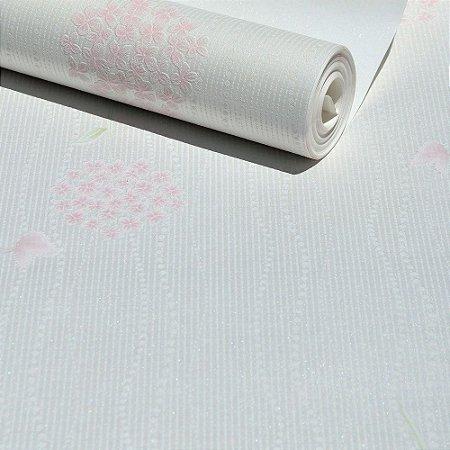 Papel de Parede Branco Pérola com Flores Rosas (toque de Glitter)