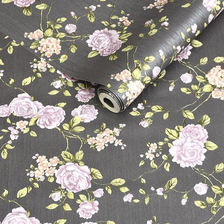 Papel de Parede Cinza Escuro com Flores Roxas