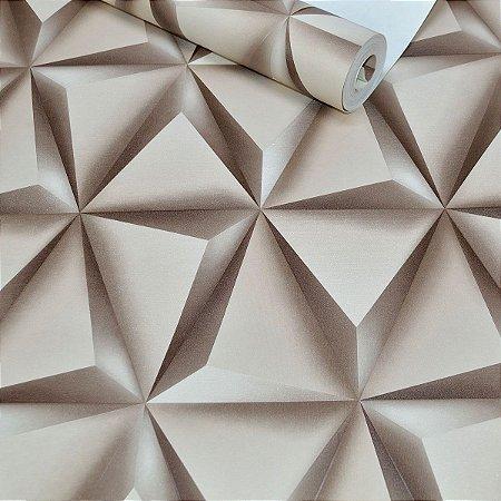 Papel de Parede Triângulos Marrom Efeito 3D