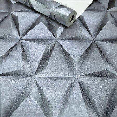 Papel de Parede Triângulos Cinza / Prata Efeito 3D