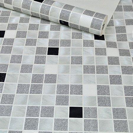 Papel de Parede quadriculado Branco Preto e Cinza
