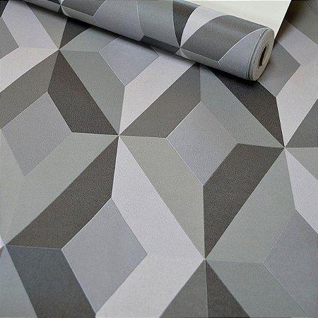Papel de Parede Geométrico 3D - Cinza