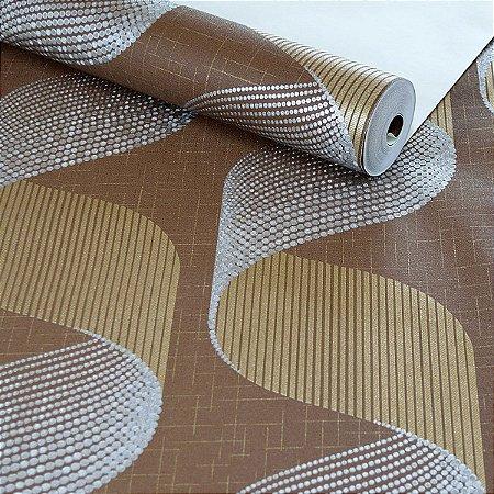 Papel de Parede Efeito 3D Marrom com Dourado e Prateado