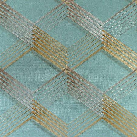 Papel de Parede Geométrico Verde com Detalhes em Dourado e Prateado