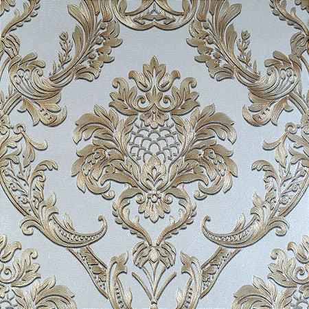 Papel de Parede Marrom Claro com Damask Dourado