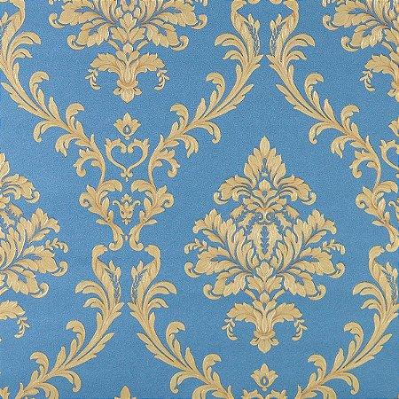 Papel de Parede Azul com Damask Dourado (suave toque de glitter)