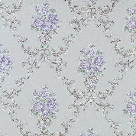 Papel de Parede Pérola Claro com Flores Lilás