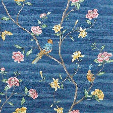 Papel de Parede Azul com Flores e Pássaros