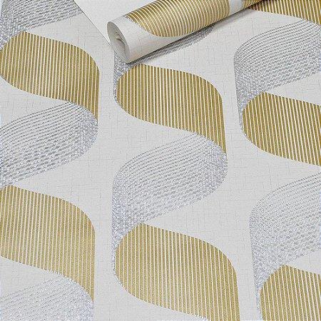 Papel de Parede Cinza Claro com Textura 3D Dourado e Prateado
