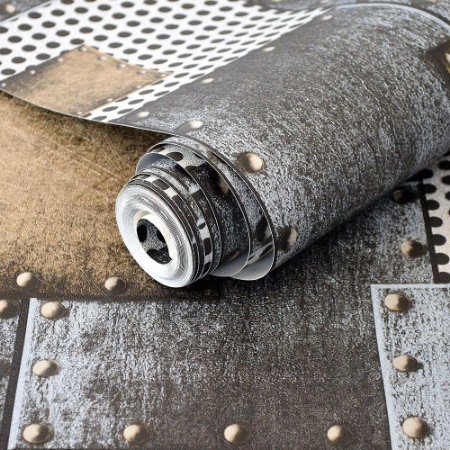 Papel de Parede Estilo Placas de Metal com Rebites (cinza / Preto / Bronze)