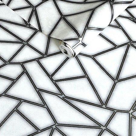 Papel de Parede Branco com Mosaico em Prateado