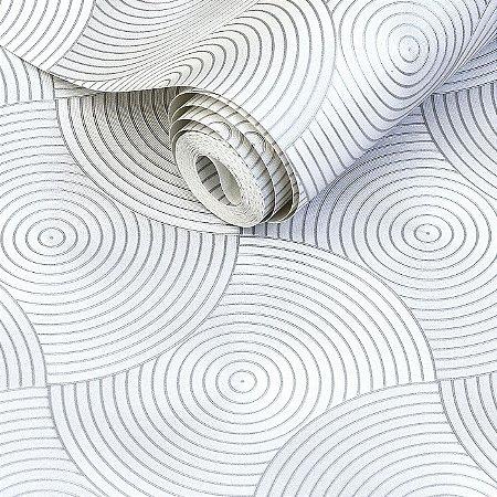 Papel de Parede 3D Circulos Cinza Claro/Prateado