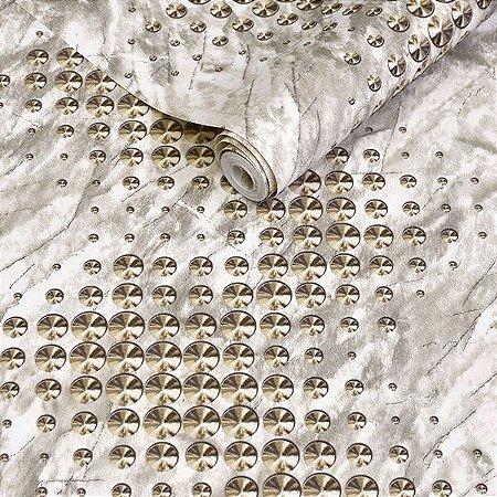 Papel de Parede Bege com Detalhes em Dourado