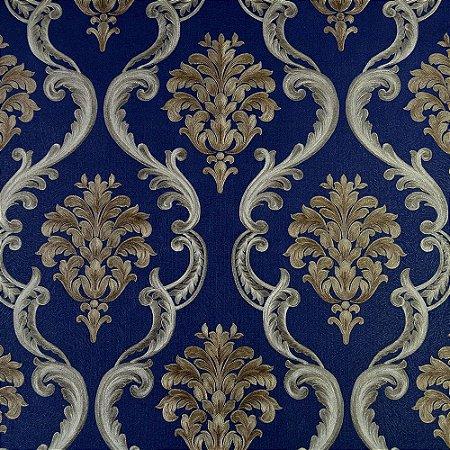 Papel de Parede Azul Marinho com Arabescos Dourados