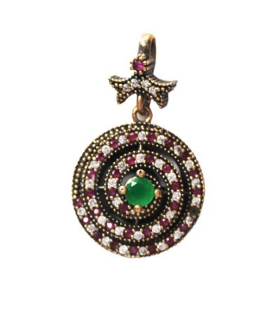 Pingente de esmeraldas, rubis e zircônias