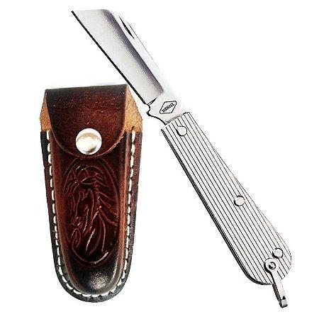 """Canivete Rog Inox 3 1/8"""" com Bainha de Couro"""