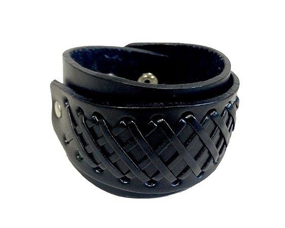 Bracelete de Couro Preto com Detalhe Tramado - BC02-P