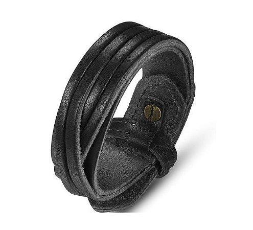 Bracelete de Couro Legítimo Preto Trançado - BC03-P