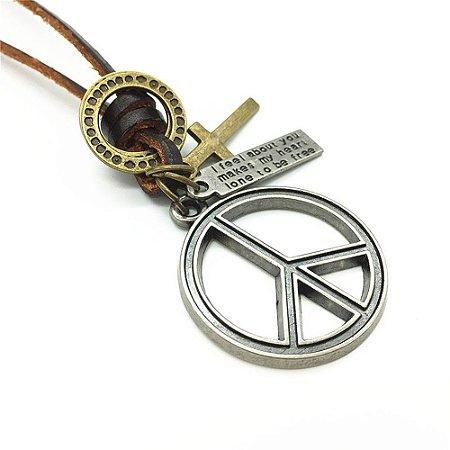 Colar Masculino De Couro Legitimo Paz Mundial - CC30