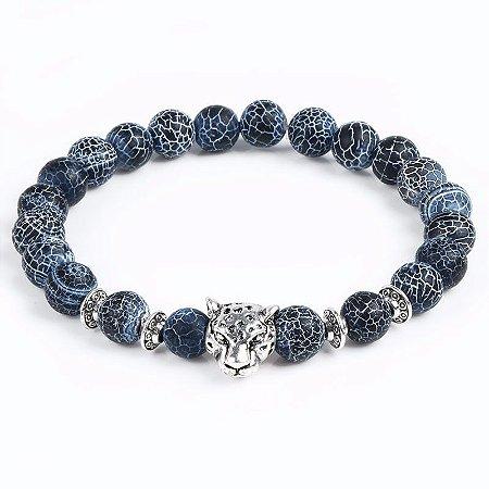 Pulseira Masculina de Pedras Azuis Leopardo Africano