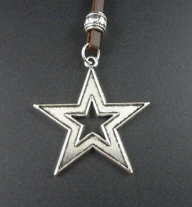 Colar de Couro Estrela Stars - CC14