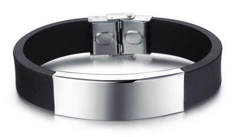 Pulseira Masculina de Silicone Preto com Placa de Metal em Aço Inoxidável - PS01-B