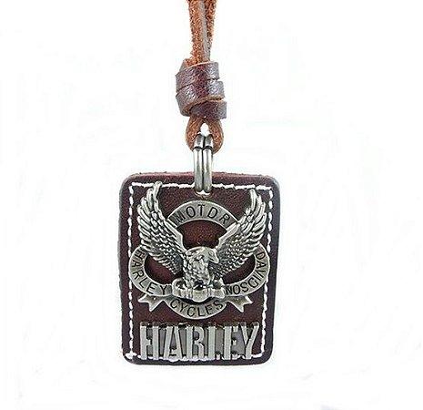 Colar Masculino de Couro e Pingente Harley-Davidson - CC26