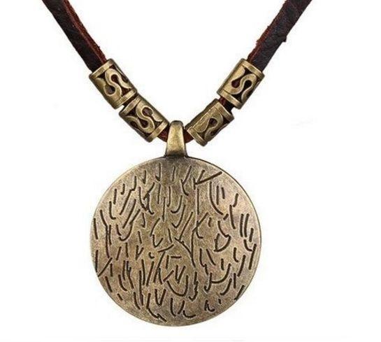 Colar Masculino de Couro Ajustável e Pingente Mandala Bronze - CC17
