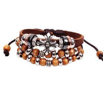 Pulseira Cruz Beads de Metal e Madeira - PC43