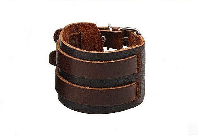 Bracelete de Couro Marrom Café - BC04-A