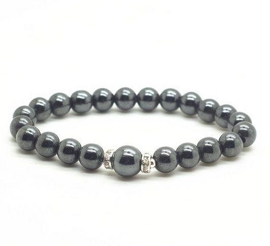 Pulseira Pedra Natural Hematita com Beads - PP18