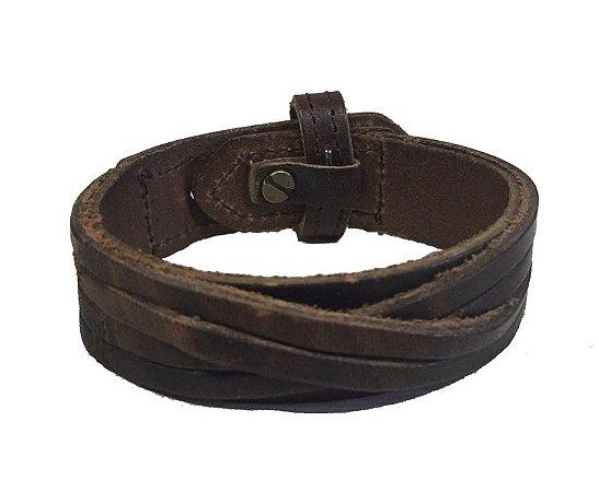 Bracelete de Couro com Detalhe Transpassado - BC03-M