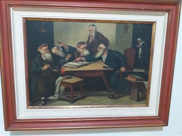 Quadro debate com o Talmud a oleo sobre tela 70 x 58.