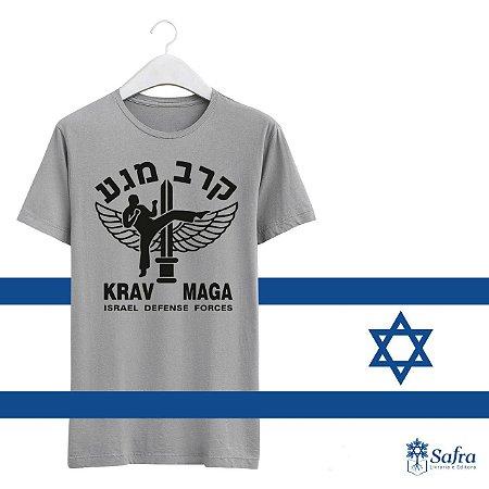 Camiseta com simbolo Krav Magá - Cor ciinza - Tamanho P.