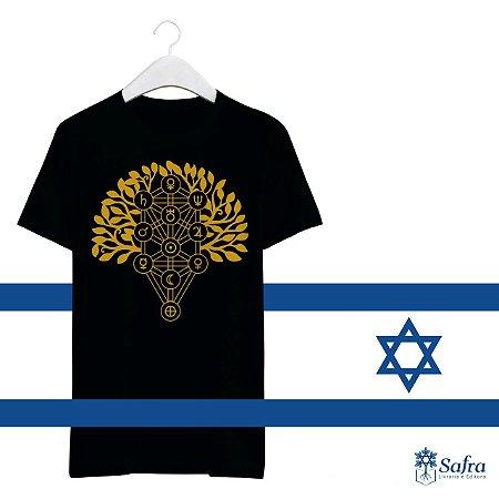 Camiseta com simbolo das Sefirot - Cor Preto- Tamanho P.