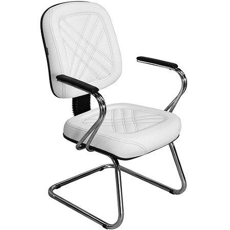 Cadeira Diretor Branca com Costura Preta para Recepções e Clínicas PD03-W - Pethiflex