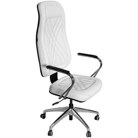 Cadeira Presidente Branca com Costura Preta para Escritório e Clínicas PP01-2-W - Pethiflex