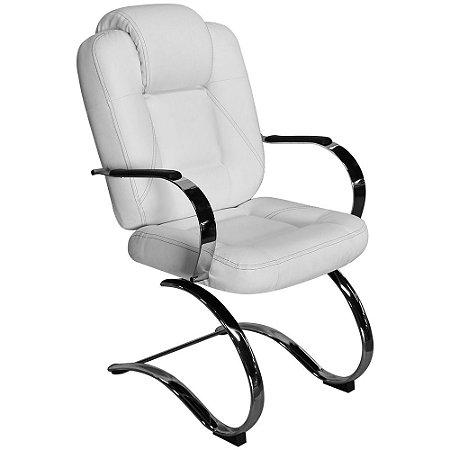 Cadeira Mônaco Luxo Fixa Branca com Costura Preta para Recepções e Clínicas - Pethiflex