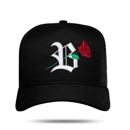 BONÉ TRUCKER ROSES BLACK