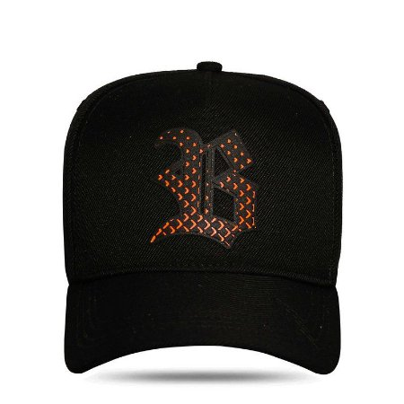 BONÉ SNAPBACK HEART PERFORED ORANGE BLACK