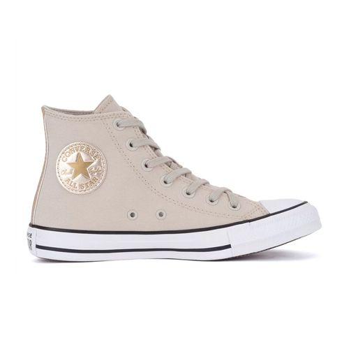 Tênis Converse CT17290001 Chuck Taylor All Star Hi Bege Claro/Ouro Claro