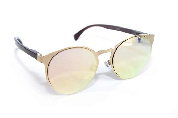 Oculos de Sol feminino dourado lente espelhada - Oculos Barato para revenda - atacado de oculos de sol