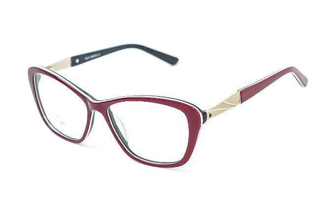 Armação para óculos feminino gatinho -  ZZ4034 vinho- Atacado de Óculos - Óculos para óticas