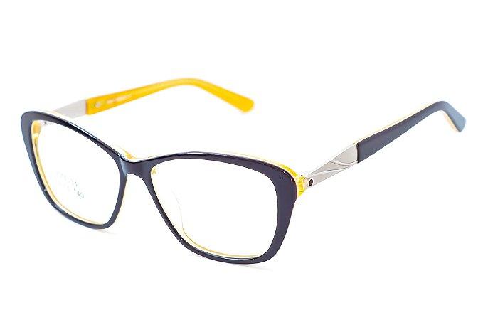 Armação para óculos feminino gatinho -  ZZ4034 preto e amarelo- Atacado de Óculos - Óculos para óticas