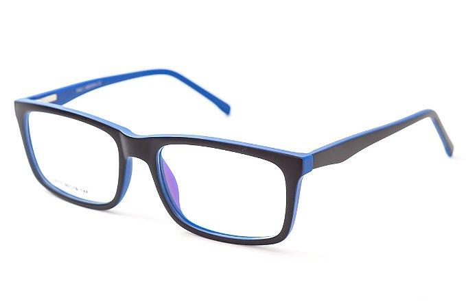 Armação para óculos masculino quadrado -  SJ075 Preto e azul - Atacado de Óculos - Óculos para óticas