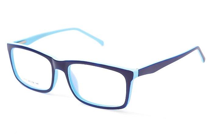 Armação para óculos masculino quadrado -  SJ075 Preto e azul claro - Atacado de Óculos - Óculos para óticas