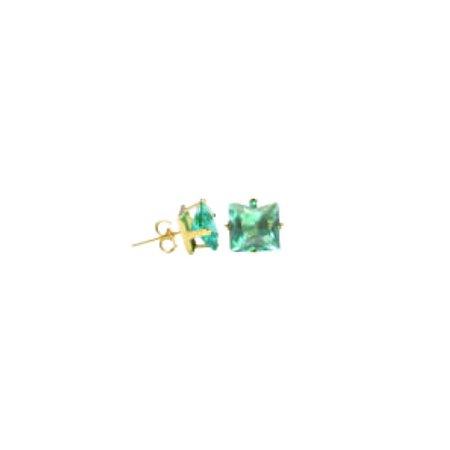 Brinco Quadrado com Zircônia Verde Esmeralda Folhheado