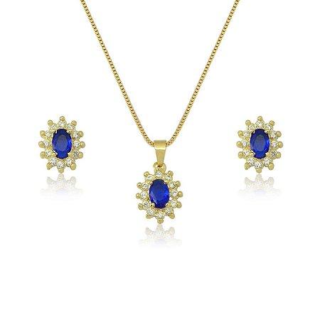 Conjunto Oval com Zircônias nas cores azul e cristal